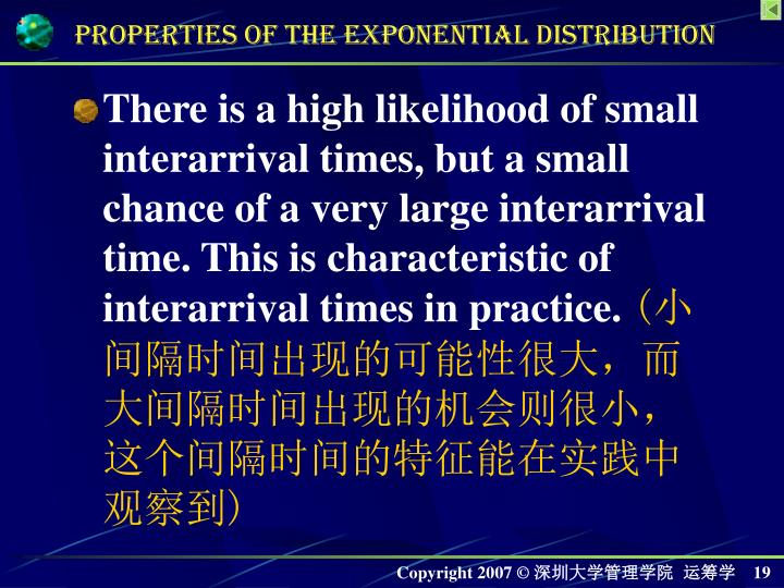 There is a high likelihood of small interarrival times, but a small chance of a very large interarrival time. This is characteristic of interarrival times in practice.
