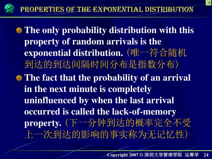 The only probability distribution with this property of random arrivals is the exponential distribution.