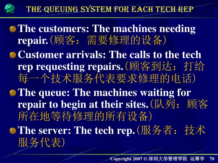 The customers: The machines needing repair.