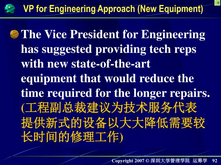 VP for Engineering Approach (New Equipment)