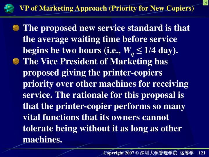 VP of Marketing Approach (Priority for New Copiers)