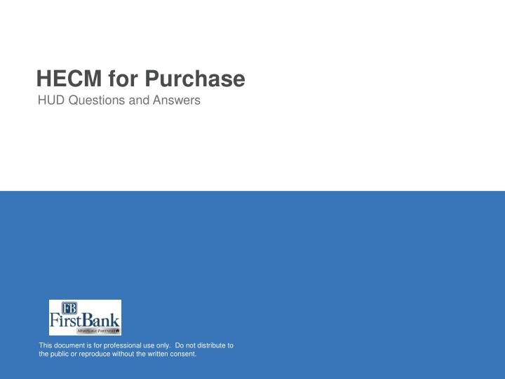 HECM for Purchase