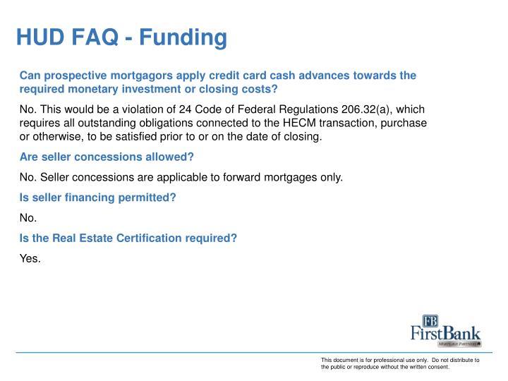 HUD FAQ - Funding