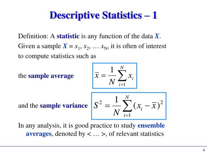 Descriptive Statistics – 1
