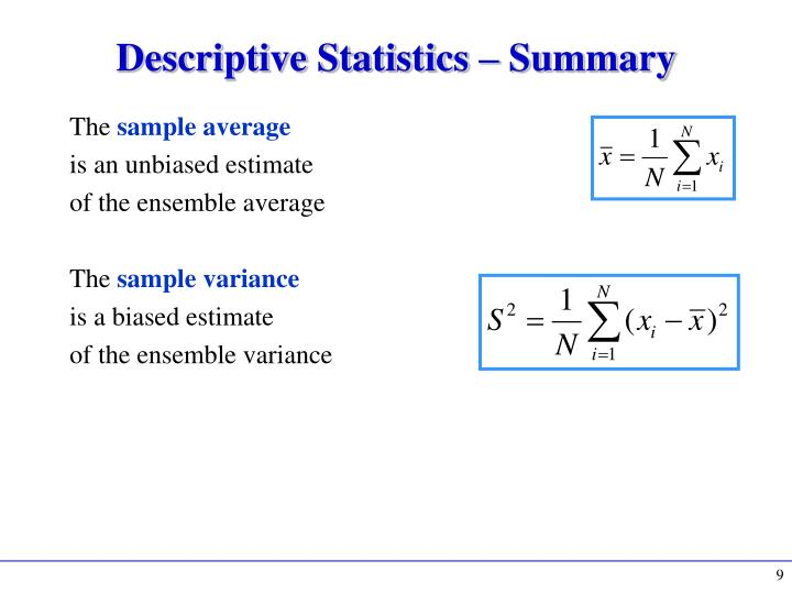Descriptive Statistics – Summary