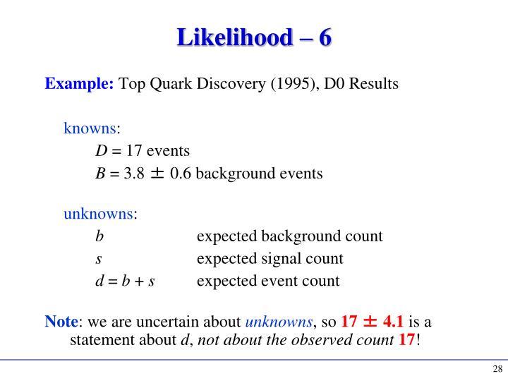 Likelihood – 6