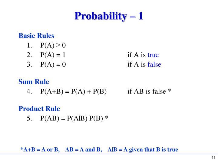 Probability – 1