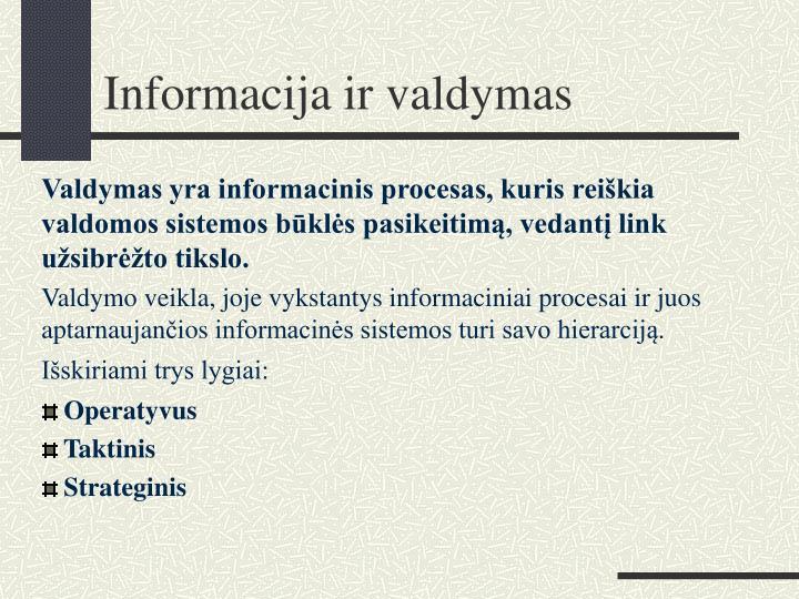 Informacija ir valdymas