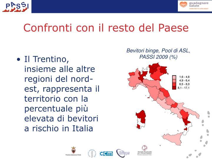 Il Trentino, insieme alle altre regioni del nord-est, rappresenta il territorio con la percentuale più elevata di bevitori a rischio in Italia