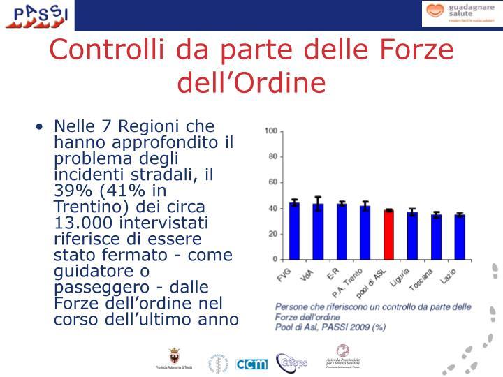 Nelle 7 Regioni che hanno approfondito il problema degli incidenti stradali, il 39% (41% in Trentino) dei circa 13.000 intervistati riferisce di essere stato fermato - come guidatore o passeggero - dalle Forze dell'ordine nel corso dell'ultimo anno