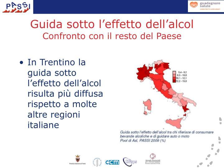 In Trentino la guida sotto l'effetto dell'alcol risulta più diffusa rispetto a molte altre regioni italiane