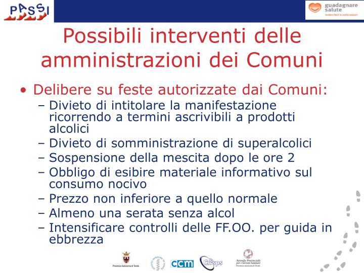Possibili interventi delle amministrazioni dei Comuni