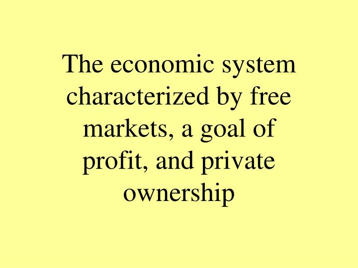The economic system characterized by free markets, a goal of profit, and private ownership