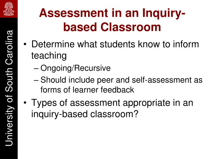 Assessment in an inquiry based classroom