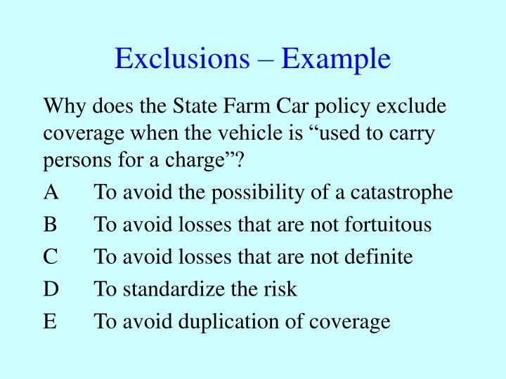 Exclusions – Example