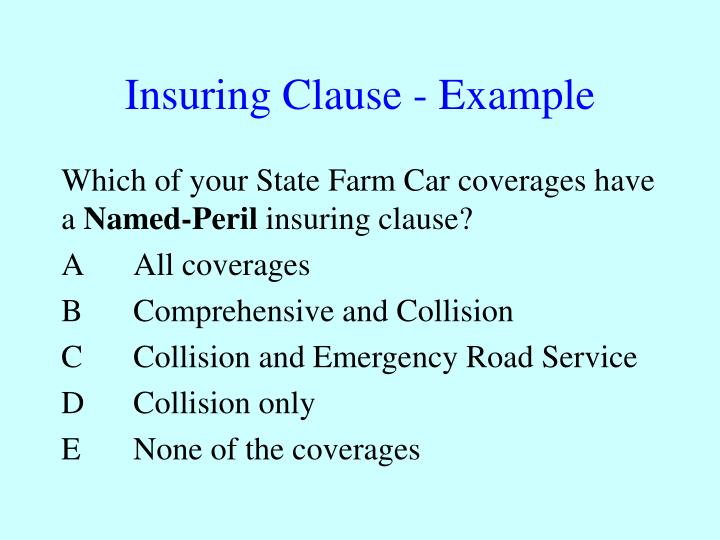 Insuring Clause - Example