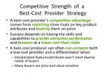 competitive strength of a best cost provider strategy