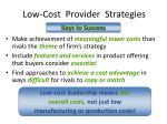 low cost provider strategies