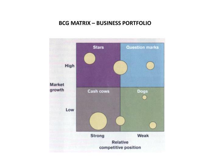 BCG MATRIX – BUSINESS PORTFOLIO