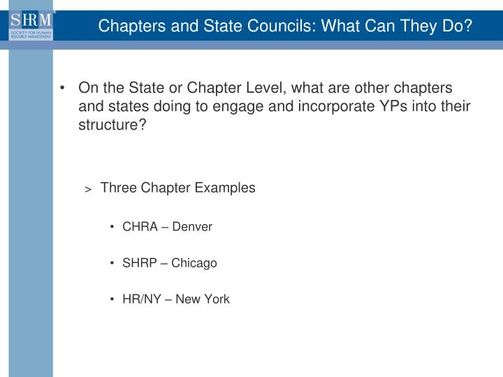 Chapters and State Councils: What Can They Do?