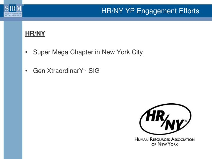 HR/NY YP Engagement Efforts