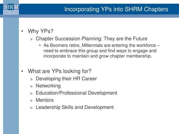 Incorporating YPs into SHRM Chapters