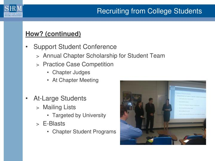 Recruiting from College Students