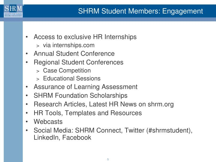 SHRM Student Members: Engagement