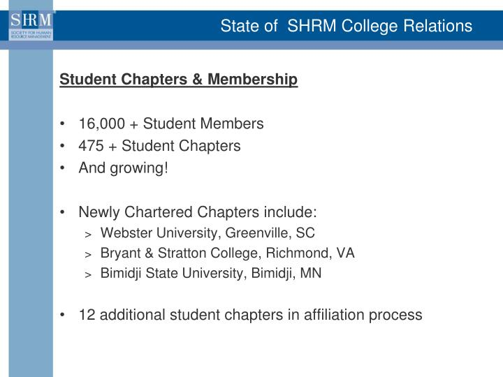 State of  SHRM College Relations