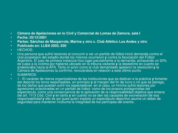 Cámara de Apelaciones en lo Civil y Comercial de Lomas de Zamora, sala I