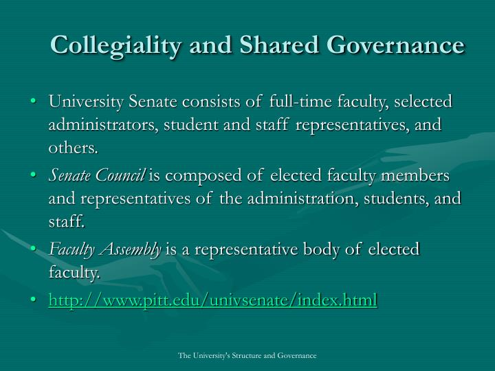 Collegiality and Shared Governance