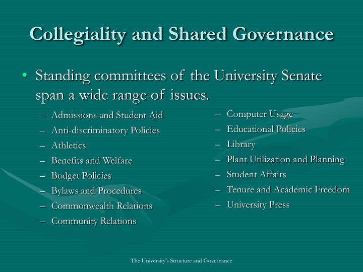 Standing committees of the University Senate span a wide range of issues.