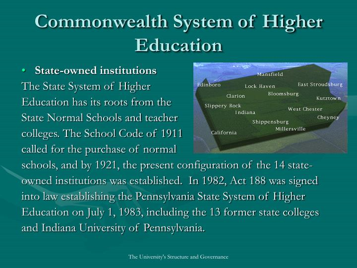 Commonwealth system of higher education1