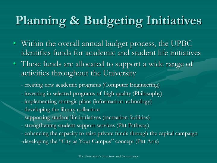 Planning & Budgeting Initiatives