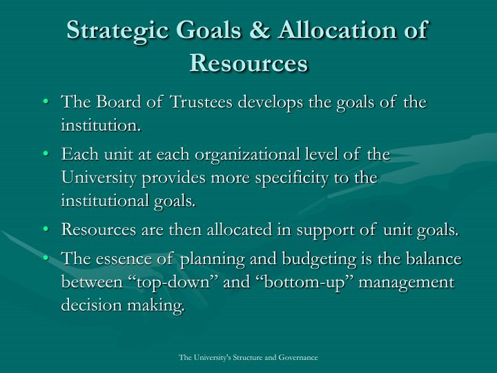 Strategic Goals & Allocation of Resources