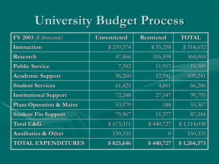 University Budget Process