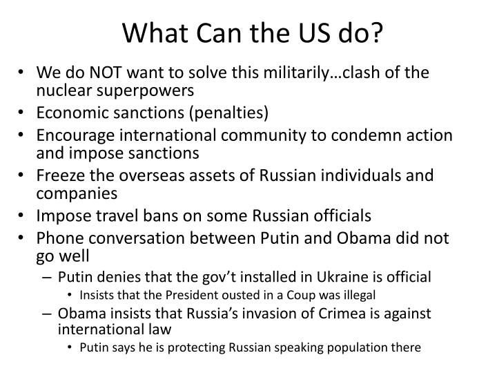 What Can the US do?