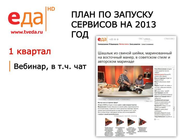 ПЛАН ПО ЗАПУСКУ СЕРВИСОВ НА 2013 ГОД