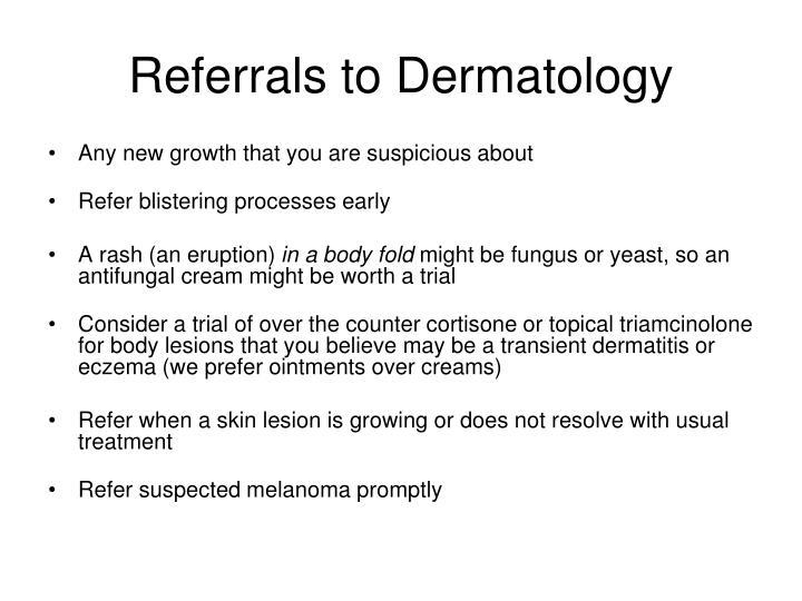 Referrals to Dermatology