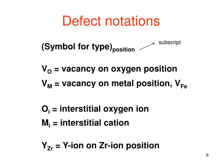 Defect notations