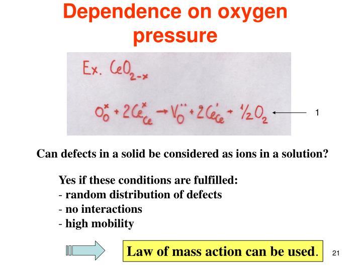 Dependence on oxygen pressure