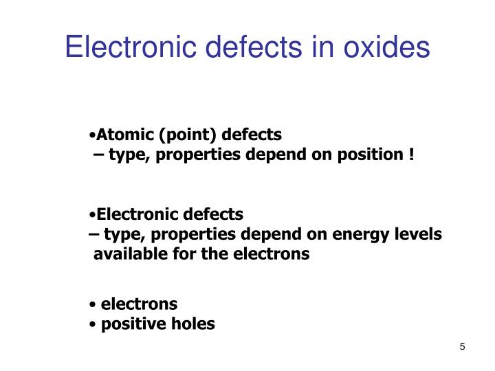 Electronic defects in oxides