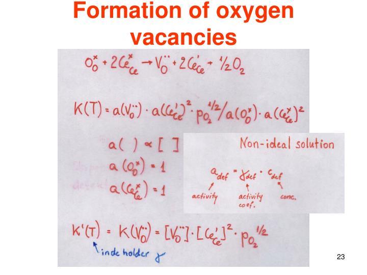 Formation of oxygen vacancies