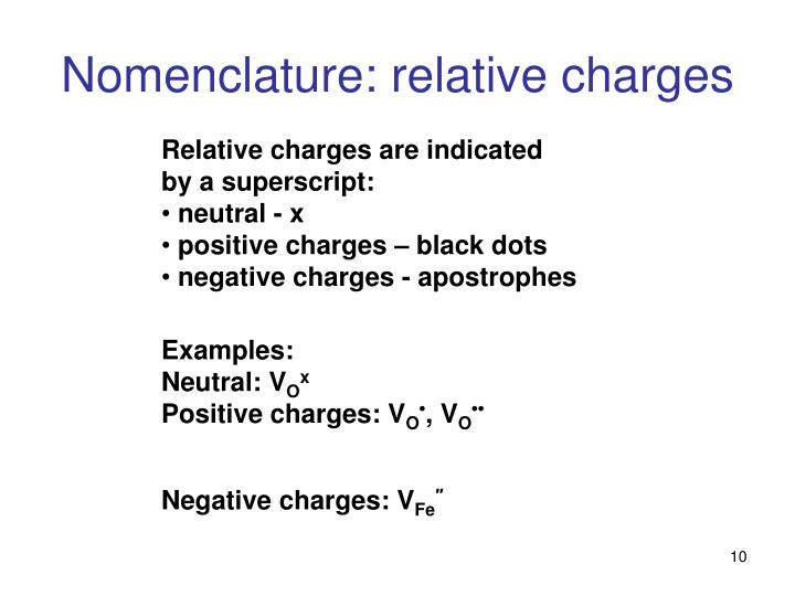 Nomenclature: relative charges