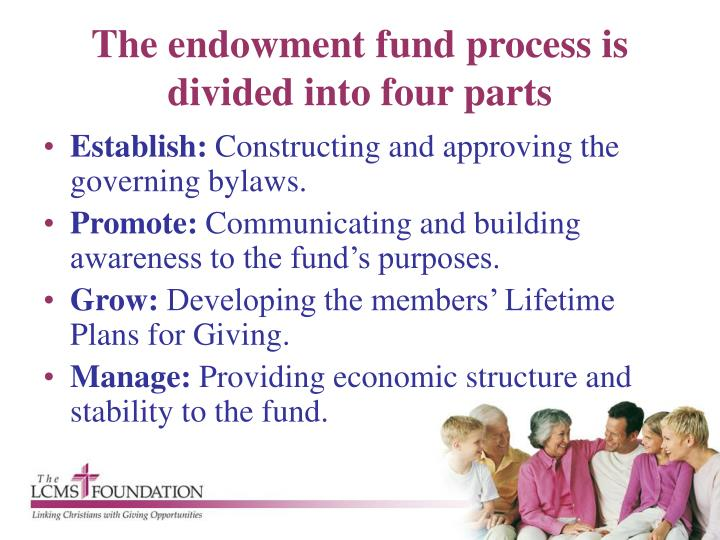 The endowment fund process is divided into four parts