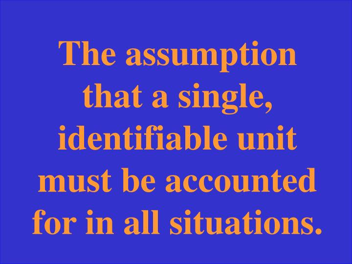 The assumption that a single, identifiable unit must be accounted for in all situations.