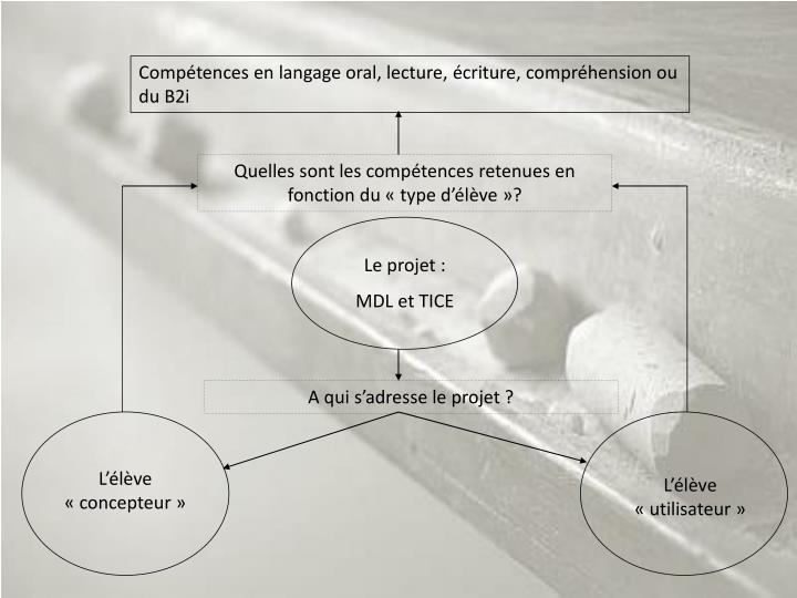 Compétences en langage oral, lecture, écriture, compréhension ou du B2i
