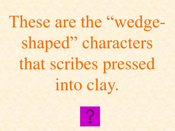 "These are the ""wedge-shaped"" characters that scribes pressed into clay."