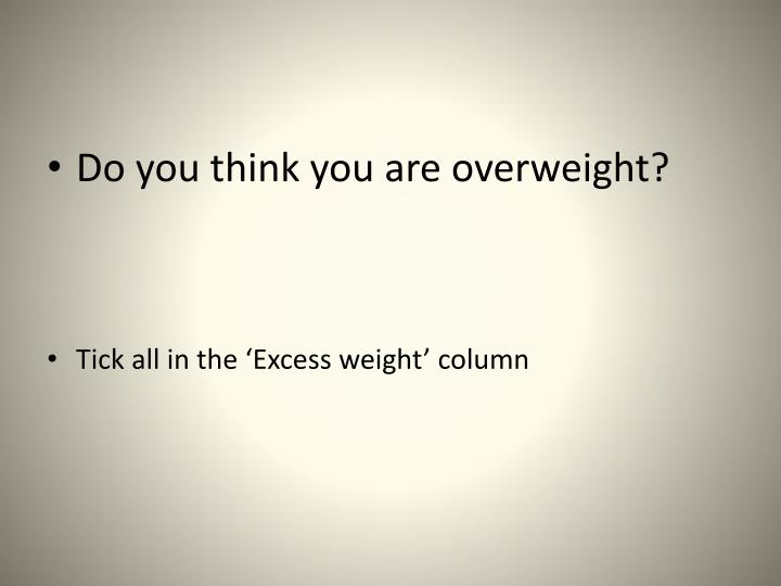 Do you think you are overweight?