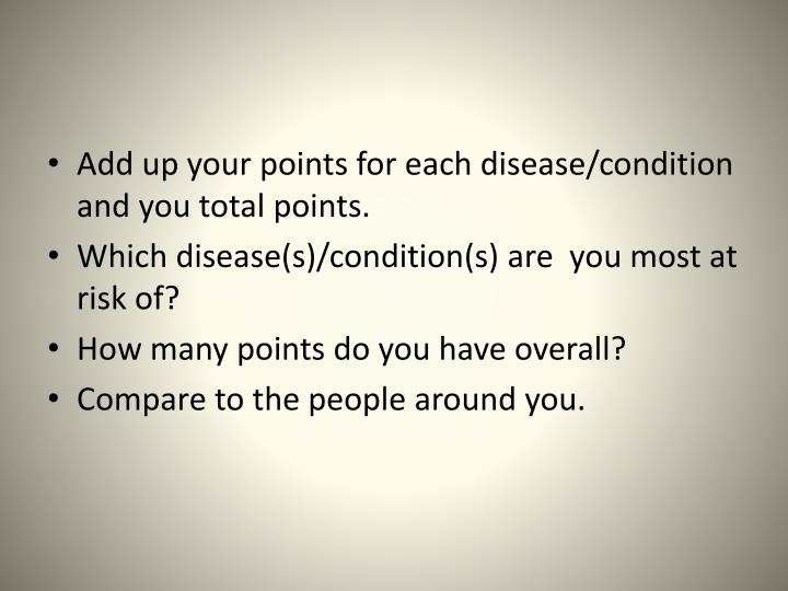 Add up your points for each disease/condition and you total points.